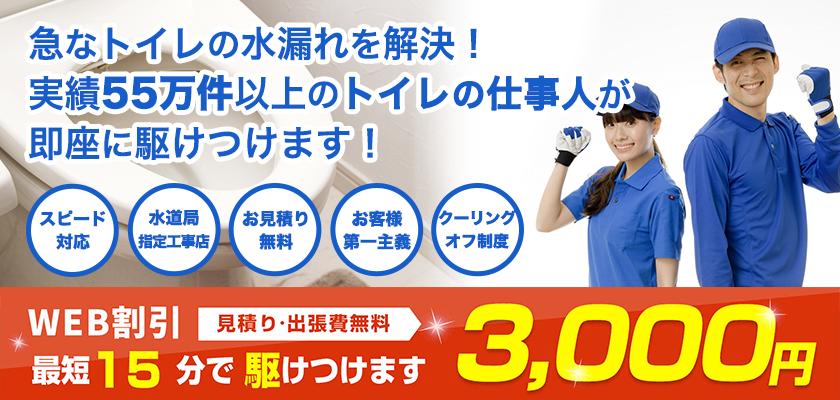 急なトイレの水漏れトタブルを即日解決。トイレの仕事人なら55万件の実績あり。WEB割引¥3,000オフ